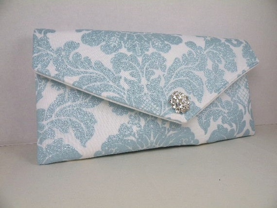 Envelope Clutch Weddings Bride Bridesmaid Delovely Damask White & Blue Metallic Shimmer with Clear Crystal--LIMITED EDITION