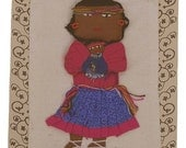 Mexico- Tarahumara Fabric Quilt Square, Indian Doll 686-3
