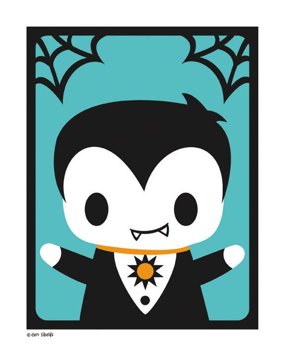 Items similar to Vampire Boy - Cute Halloween Monster 8x10 Print ...