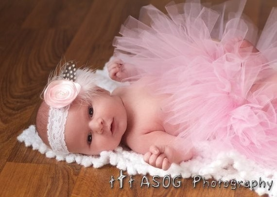 SALE Pink Baby Tutu And Headband Set Infant Bow