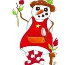 Garden Snowman - Note Card