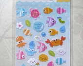 Kawaii Under the Sea Sticker Sheet Blue Label Free Shipping