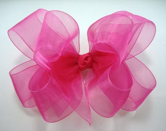 Double Layer Shocking Pink Organza Boutique Hairbow