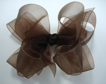 Double Layer Brown Organza Boutique Hairbow