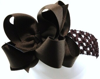 Double Layer Chocolate Brown Boutique Hairbow