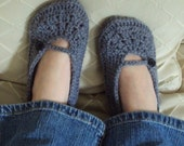 Download Now - CROCHET PATTERN Ladies Crochet Basics Mary Janes Slippers - Pattern PDF