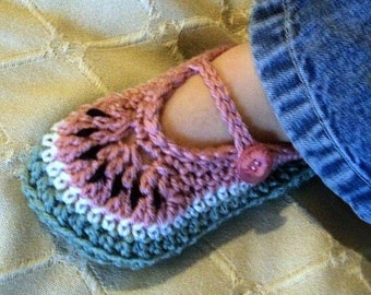 Download Now - CROCHET PATTERN Toddler Watermelon Mary Janes - Pattern PDF