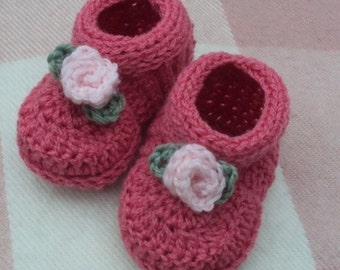 Download Now - CROCHET PATTERN Rosebud Baby Shoes - Pattern PDF