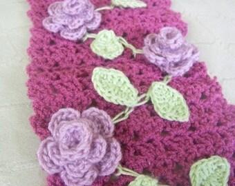Download Now - CROCHET PATTERN Rose Garden Scarf - Pattern PDF