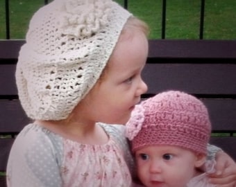 Download Now - CROCHET PATTERN English Rose Hat - Baby to Adult - Pattern PDF