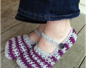 Download Now - CROCHET PATTERN Stripy Ribbed Slippers - Pattern PDF