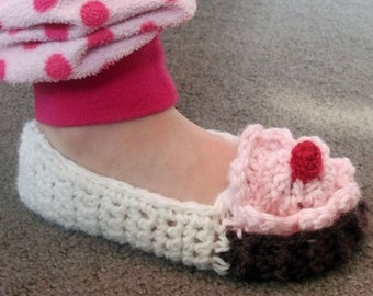 Download Now - CROCHET PATTERN Toddler Cupcake Slippers - Pattern PDF