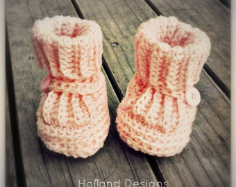 Download Now - CROCHET PATTERN Classic Ribbed Baby Booties - 0-12 mos - Pattern PDF
