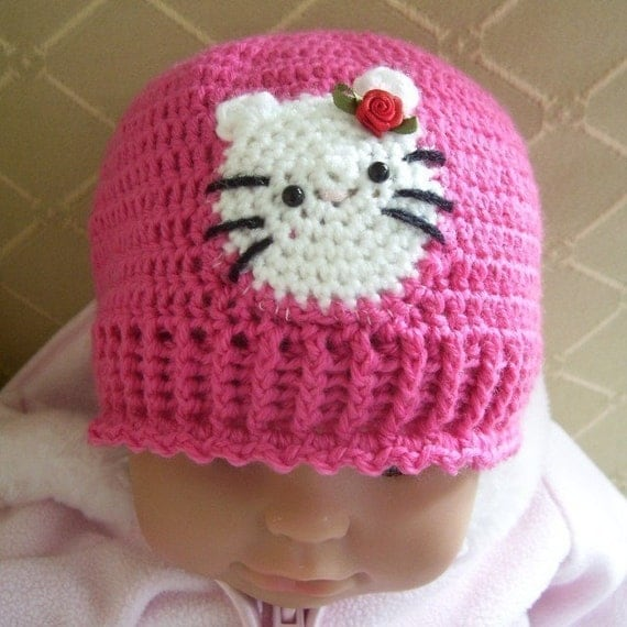 Items similar to CROCHET PATTERN Hello Kitty Baby Hat ...