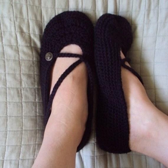 Download Now - CROCHET PATTERN Ladies Cross-Strap Ballet Flats Slippers- Pattern PDF