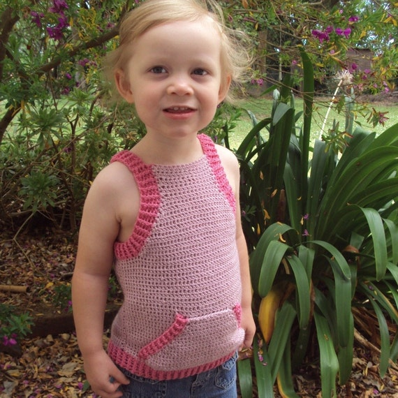 Free Crochet Pattern For Baby Tank Top : Download Now CROCHET PATTERN Triangle Pocket Tank Top Baby