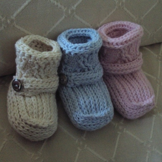 Items similar to CROCHET PATTERN Cabled Cuff Baby Booties ...