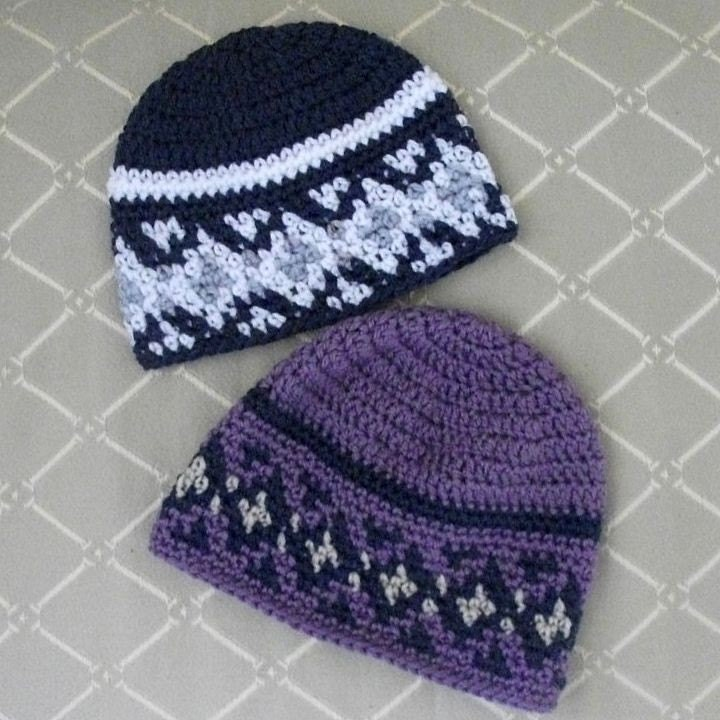 Download Now CROCHET PATTERN Fair Isle Beanie All Sizes