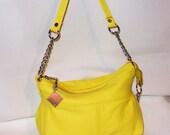 ON SALE  reg. 62  Leather purse,leather handbag,handmade purse,yellow leather,yellow purse,neon yellow leather,small purse