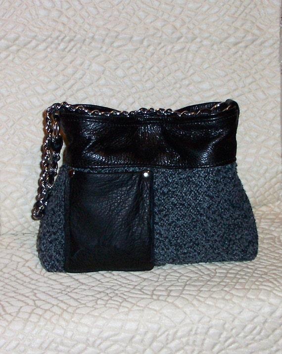 Handmade handbag,shoulder bag,leather handbag,black,purse,tote