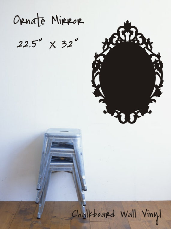 Ornate mirror chalkboard vinyl decal by asignofthetimes on for Mirror vinyl