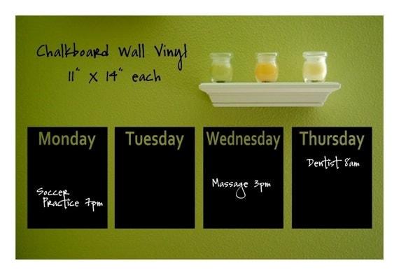 Calendar Week Chalkboard Vinyl Decals Set - PLUS BONUS