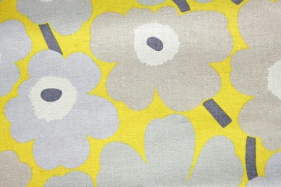 Marimekko Mini-Unikot cotton, grey and yellow - HALF YARD