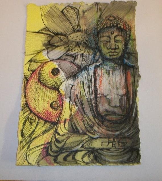 Ying Yang Lotus Buddha ORIGINAL Mixed Media Drawing