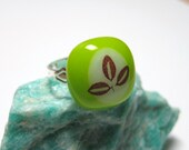 Nature Inspired Fused Glass Adjustable Ring