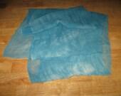 """90"""" Silk Chiffon hand-dyed Teal Scarf ready to Nuno Felt"""