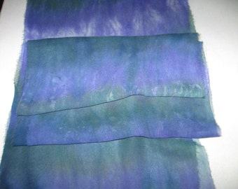 "90"" Silk Chiffon hand-dyed Purple and Green scarf for Nuno Felting"