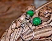 Malachite Rounds - Natural Organic Malachite Earrings, Onyx and Sterling Earrings by LindaGeez