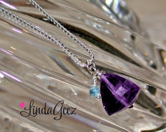 Amethyst Trillion and Blue Topaz Necklace by LindaGeez