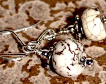 Varigaged Barrel Earrings - Magnesite Earrings by LindaGeez