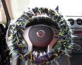 BLAINE 3 tone Black Blue Lime GENUINE Monster Steering Wheel Cover