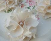 Set of 4 Cream Frayed Fabric Flowers