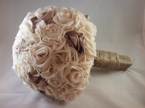 Sale Rustic Country Fabric Flower  Wedding Bouquet Rolled Roses