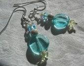 Aqua Glass Earrings