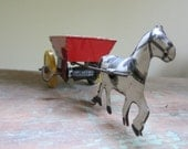 Vintage Antique Litho Tin Wind-up Cart and Horse Toy