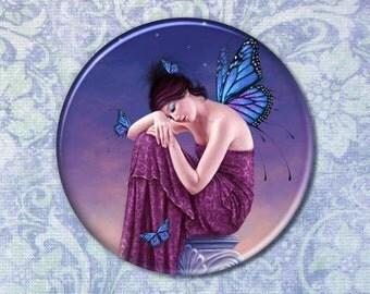 Sunset Butterfly Fairy Pocket Mirror Blue & Purple Monarch