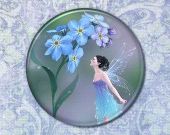 Flower Fairy Forget Me Not Pocket Mirror 2.25 inch