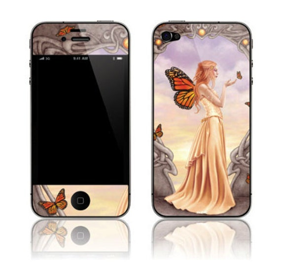 iPhone 4 4S Decal Sticker Skin - Citrine Monarch Fairy