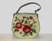 1950s purse / vintage 50s handbag / floral / needlepoint / Wildflower Handbag