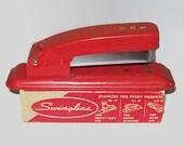 Vintage 60s Cherry Red Swingline Stapler with Staples
