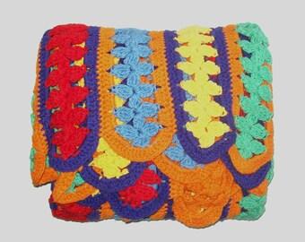 1980s blanket / 80s throw / colorful / Rainbow Multicolored Crochet Throw