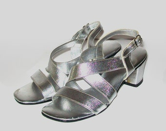 1960s shoes / vintage 60s sandals / strappy / 6 / Silver Disco Sandals