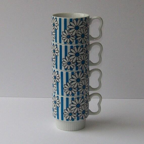 Vintage 60s MOD STRIPED Set of Four Mugs