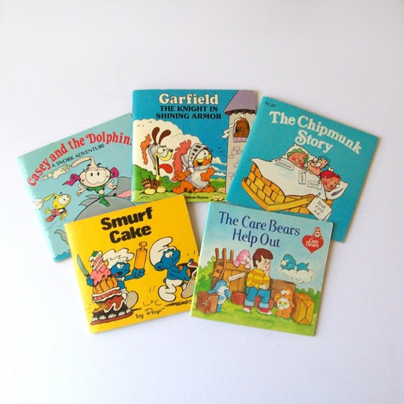 1980s kids books / 80s children's storybooks / set of 5 / Smurfs, Care Bears, Snorks, Garfield, and Chipmunks Books