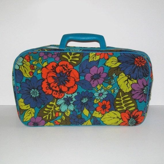 1960s mini suitcase / vintage 60s luggage / floral / Caribbean Vacation Mini Suitcase