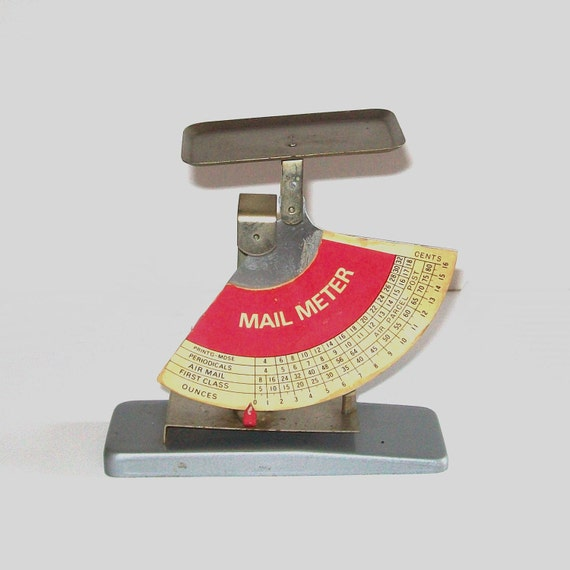 1960s mail meter / 60s office / mid-century / Mail Meter in Red and Silver